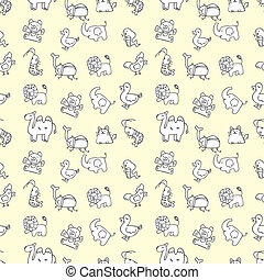 seamless cute animals pattern, vecto