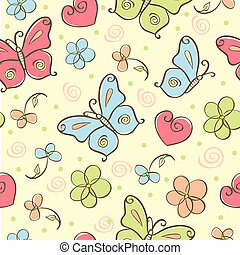 seamless cute background with butterfly