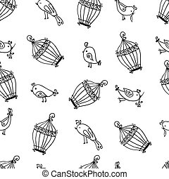 seamless cute birds with cages pattern.