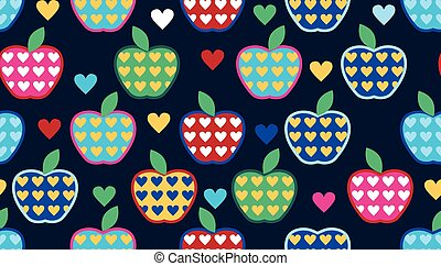 Seamless cute bright colorful retro apple pattern in vector