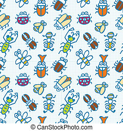 seamless cute bug pattern  - seamless cute bug pattern