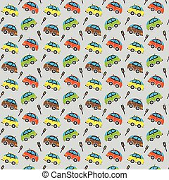 Seamless cute car pattern and Traffic lights