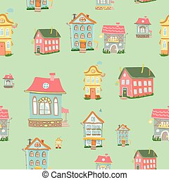 seamless Cute cartoon houses pattern