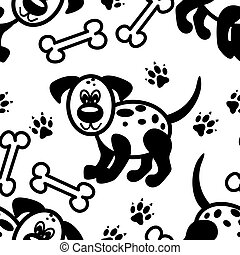 seamless, cute, cartoon, hund, mønster