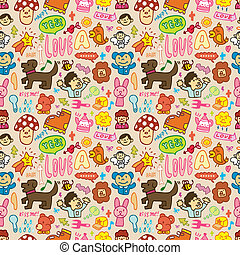 seamless cute cartoon pattern(vecto