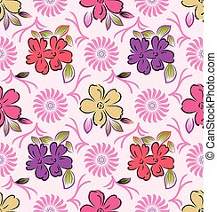 Seamless cute colorful floral background
