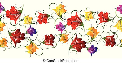 Seamless cute colorful floral border