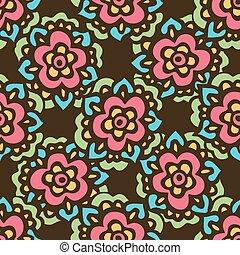 Seamless cute doodle Vector flower pattern