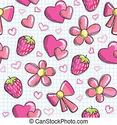 seamless, cute, elementos, romanticos, padrão