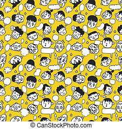 seamless cute face pattern
