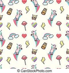 Seamless cute female, unicorn with rainbow effect and love