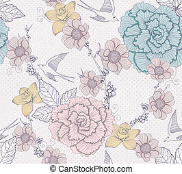Seamless cute floral pattern - Seamless flower pattern....