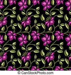 Seamless cute flower pattern design on black background