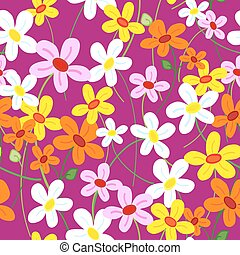 Seamless cute flower pattern - Seamless cute busy daisy...
