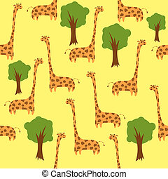 Seamless cute giraffe background