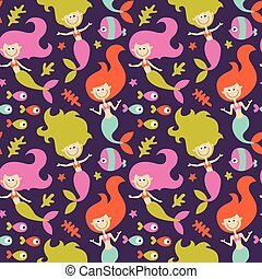 Seamless cute marine pattern made with mermaids, fish and...