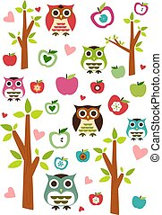 Seamless cute owl, tree and apple p