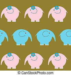 Seamless cute pattern with bright funny elephants