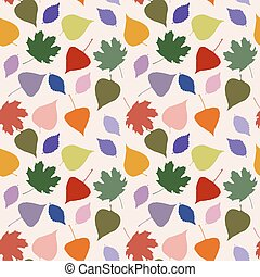 Seamless cute pattern with bright leaves