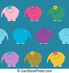 Seamless cute pattern with colorful funny elephants