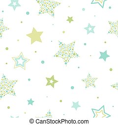 Seamless cute pattern with green and blue stars made of dots and circles on white background.