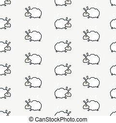 seamless cute sheep pattern.