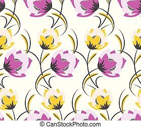Seamless cute textile flower pattern