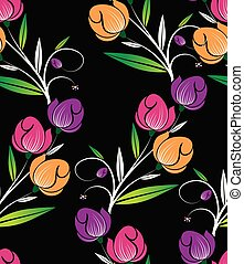 Seamless cute tulip floral pattern on black background