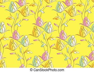 seamless, cute, tulipa, teste padrão flor