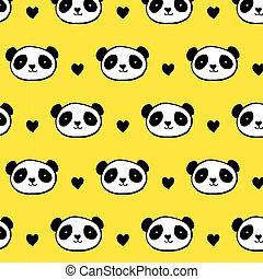 seamless, cute, urso panda, padrão