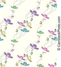 Seamless cute vector floral pattern