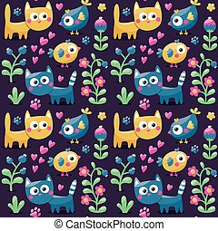 Seamless cute winter pattern made with cats, flowers, plants, footmark, hearts, berries kitten