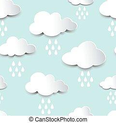 Seamless cutout rain clouds