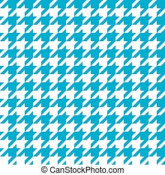 Seamless cyan blue houndstooth pattern. Vector image.