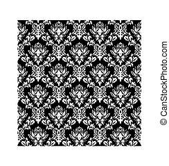 seamless, damasco, padrão