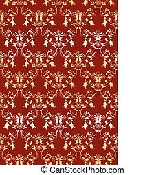 Seamless damask background with golden decoration