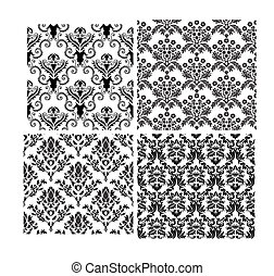 Damask seamless vector backgrounds set. For easy making seamless pattern just drag all group into swatches bar, and use it for filling any contours.