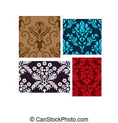seamless damask backgrounds set