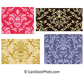 seamless damask backgrounds set