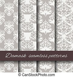 Seamless damask beige pattern set.