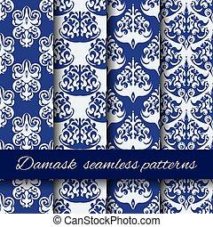 Seamless damask beige vector pattern set.