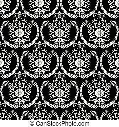 Seamless damask black and white wallpaper