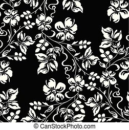 Seamless damask floral wallpaper