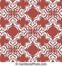 Seamless Damask Pattern Brown Background