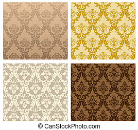 seamless damask pattern - Damask seamless vector pattern set...