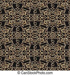 Seamless damask pattern with golden glitter.
