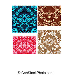 seamless damask patterns set