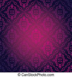 Vector Illustration of Seamless Pink Damask Wallpaper