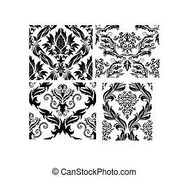 seamless, damast, mönster, sätta