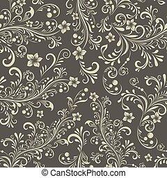 Seamless dark beige floral vintage vector pattern.